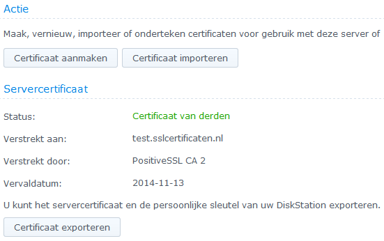 Synology DSM5 - Installeren SSL Certificaat